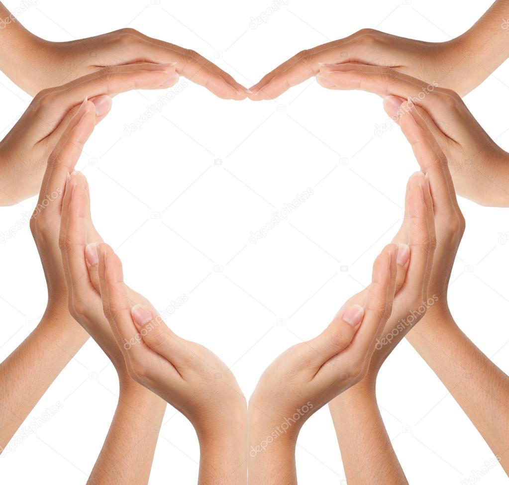 Hands make heart shape
