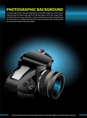Vector photographic background with the camera in the blue glow