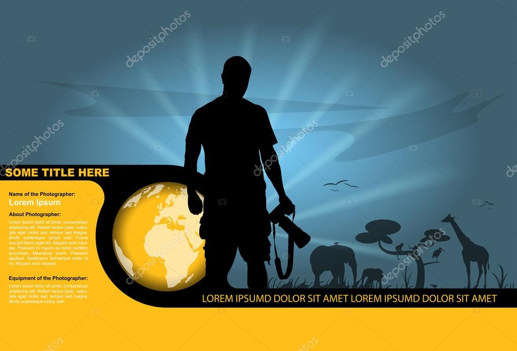 Vector silhouette of the photographer and wildlife in the backgr