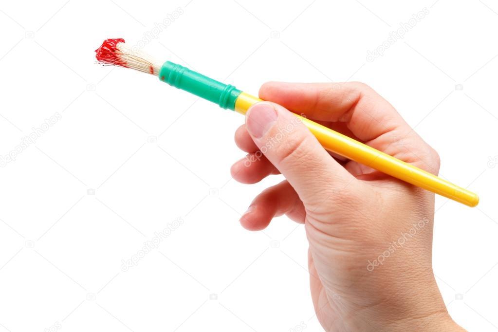 pincel con pintura. pincel con pintura roja, aislado sobre ba blanca mano femenina \u2014 foto de stock # p