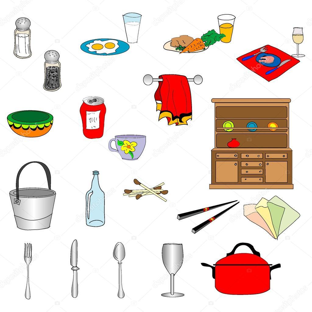 conjunto de cosas de cocina vector de stock nuarevik