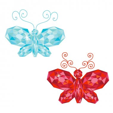 Set of gem butterflies