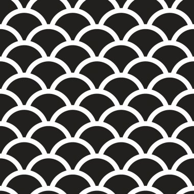 Fish scales  monochrome  Seamless Pattern