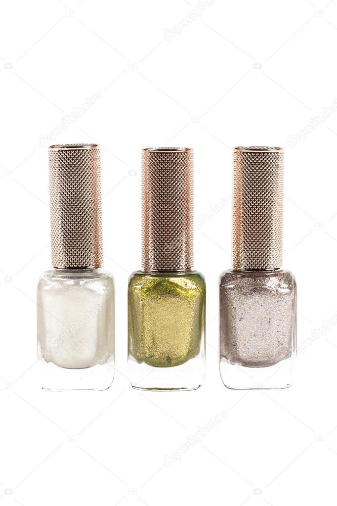 color de esmalte de uñas de polvo de diamante conjunto aislado sobre ...