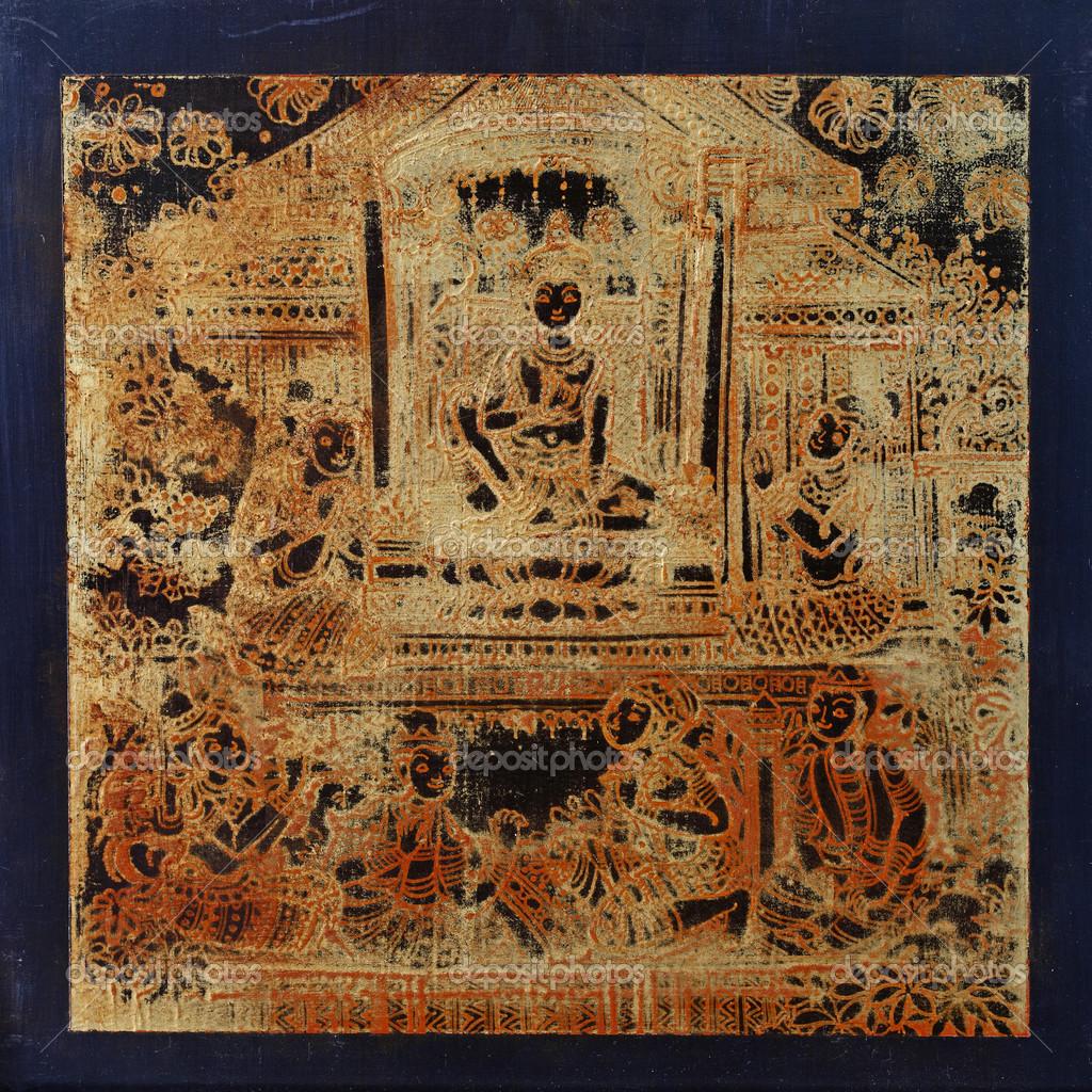 Antike Holz Malen Mit Blattgold Stockfoto Charmboyz 43863781