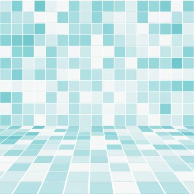 Interior Room with Mosaic Tiled Wall Vector