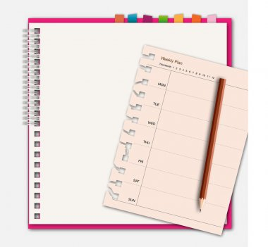 Notebook with weekly schedule
