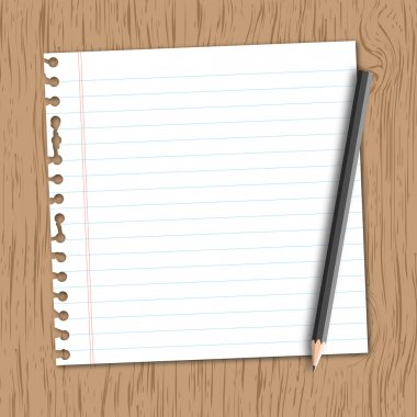Lined paper with pencil