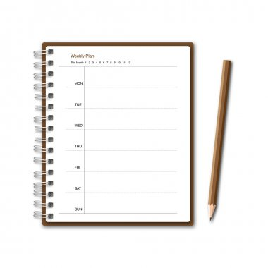 Brown notebook weekly planner