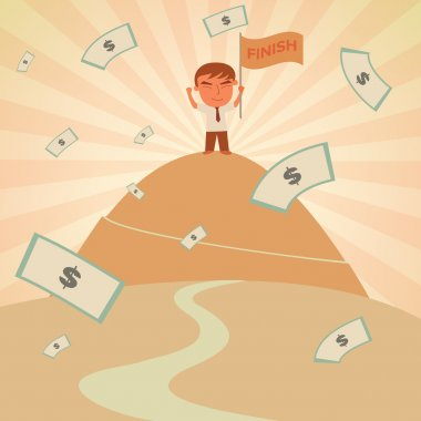 Businessman success on top of mountain with Flag and Money Rain