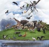 Fotografie eine Collage von wilden Tieren und Vögeln