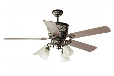 Wood blades Ceiling fan isolated