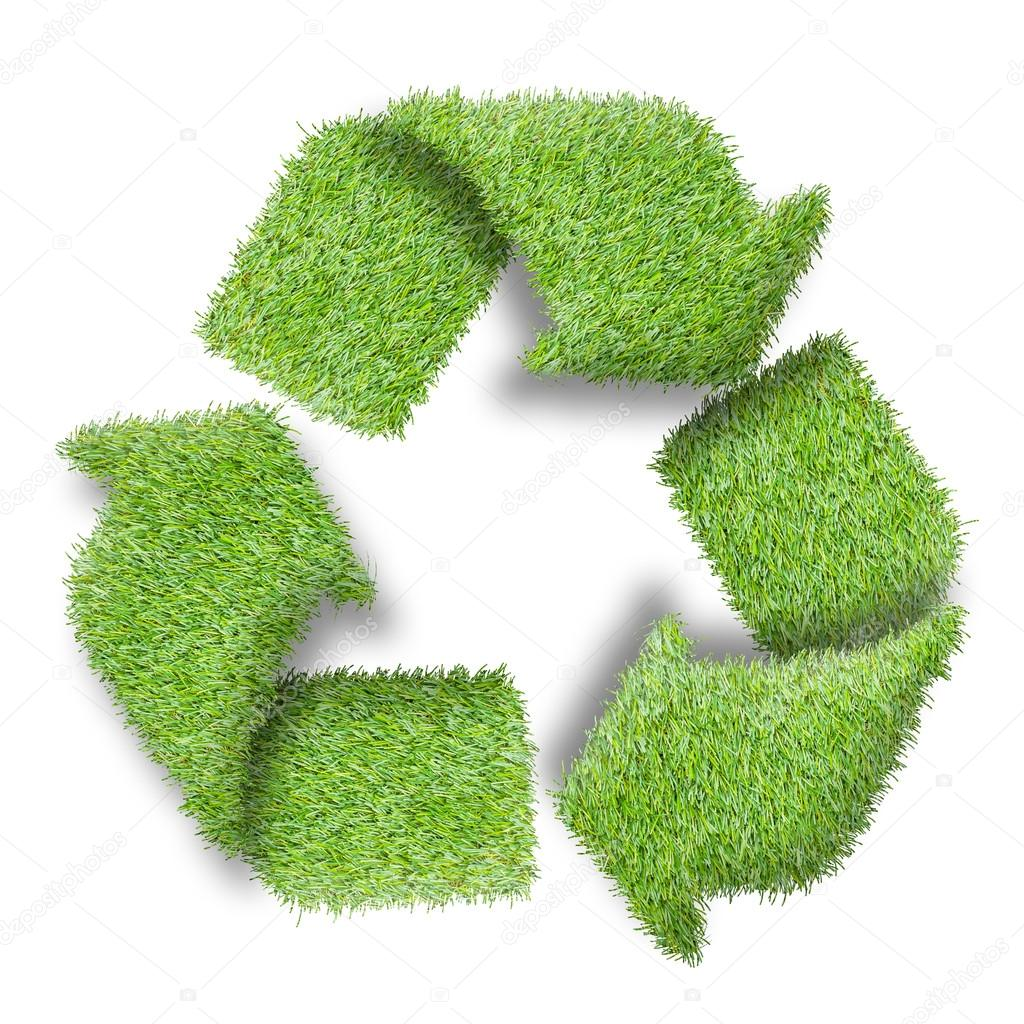 Recycle logo symbol from the green grass, isolated on white