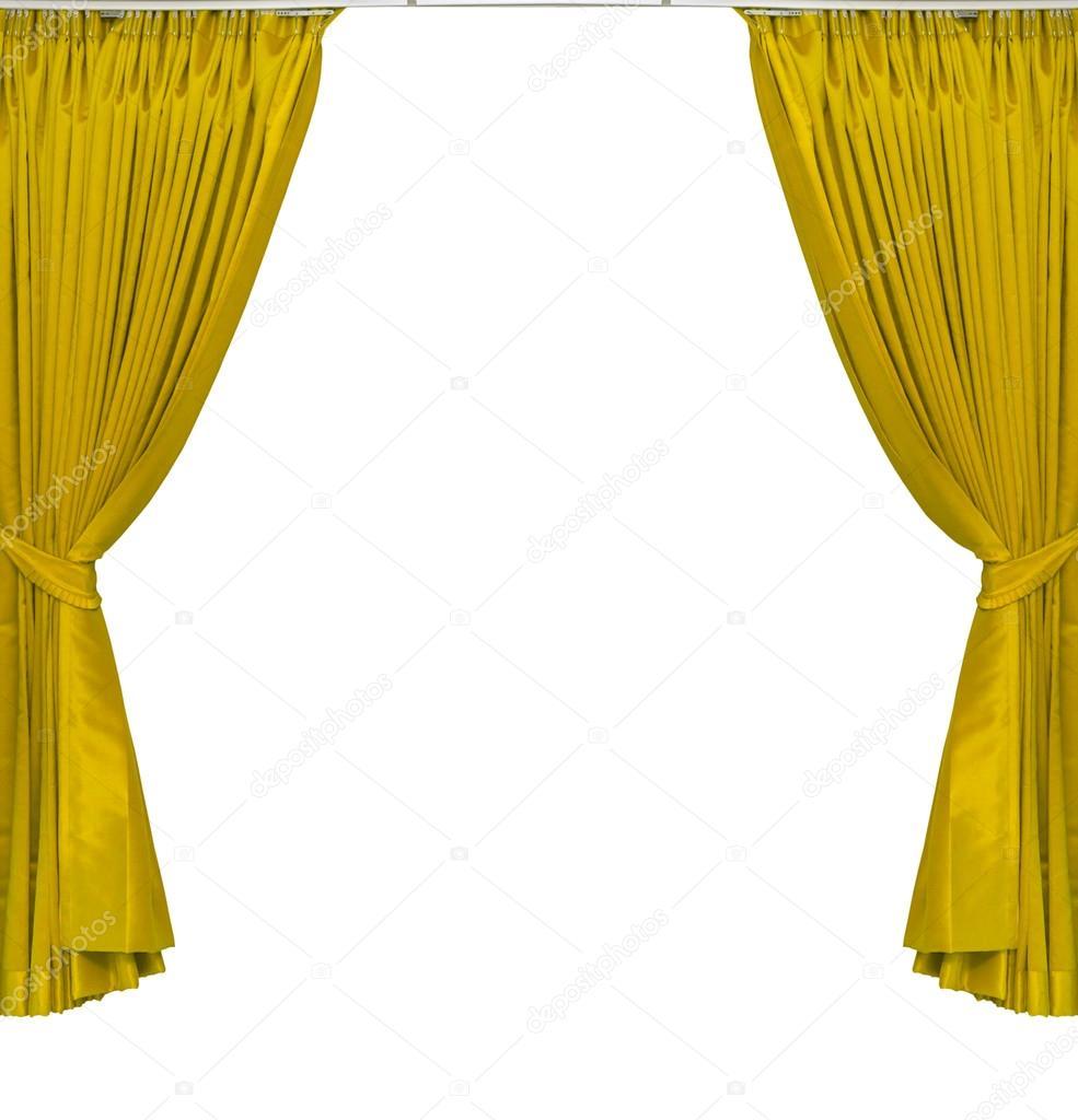 gele gordijnen stockfoto