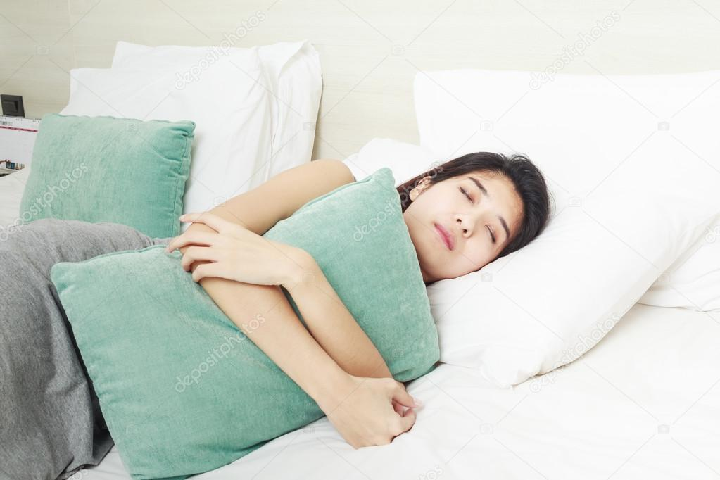 Young Beautiful Asian Woman Sleeping In Bed  Stock Photo  Frameangel 41651451-4314
