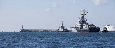 SEVASTOPOL, UKRAINE - OCTOBER 25 , 2012: Russian ships anchored in the bay of Sevastopol, Crimea, Ukraine on 25 October 2012