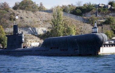 Russian submarine anchored in the bay of Sevastopol, Crimea