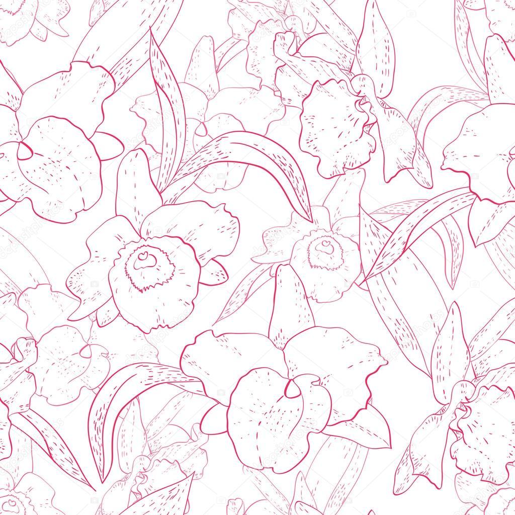 patrones retro sin fisuras con Orquídea — Vector de stock ...