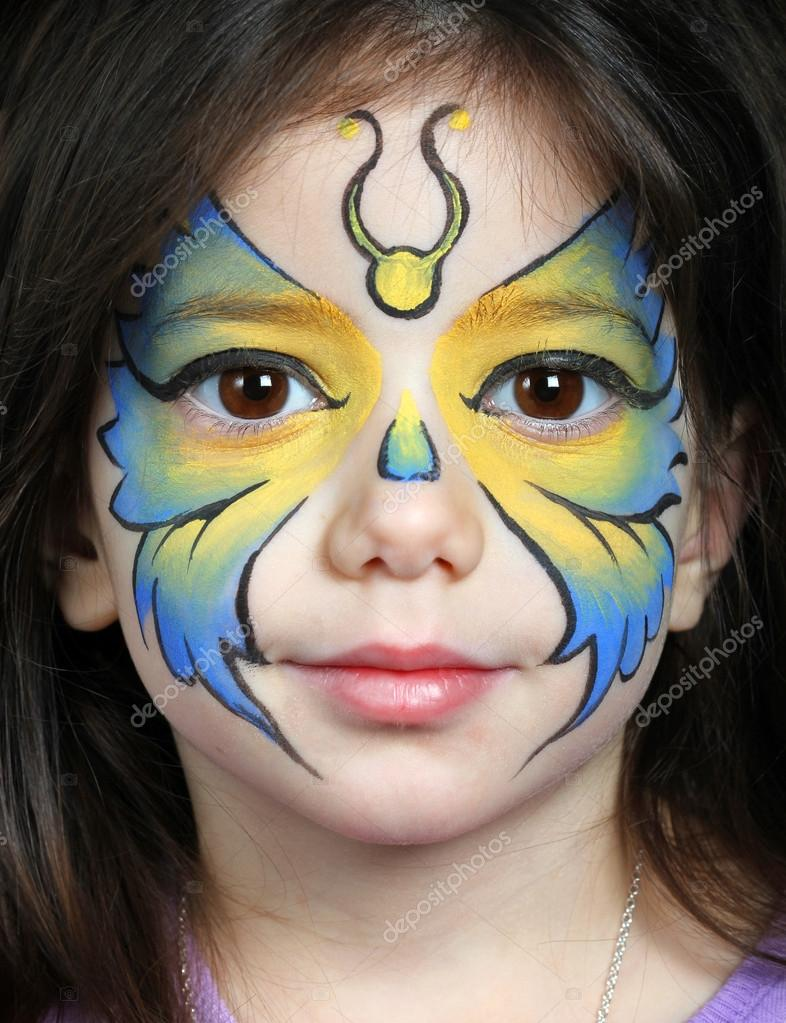 Pretty Girl With Face Painting Of A Butterfly Stock Photo