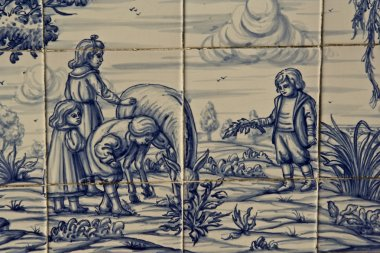 Tile, Talavera ceramics, Children on the Farm