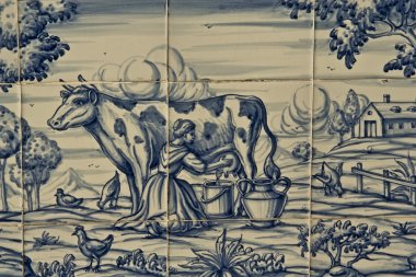 Tile, Talavera ceramics, farm work, milking the cow