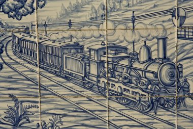 Tile, Talavera ceramics, Train