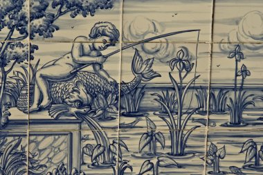 Tile, Talavera ceramics, fishing in the river