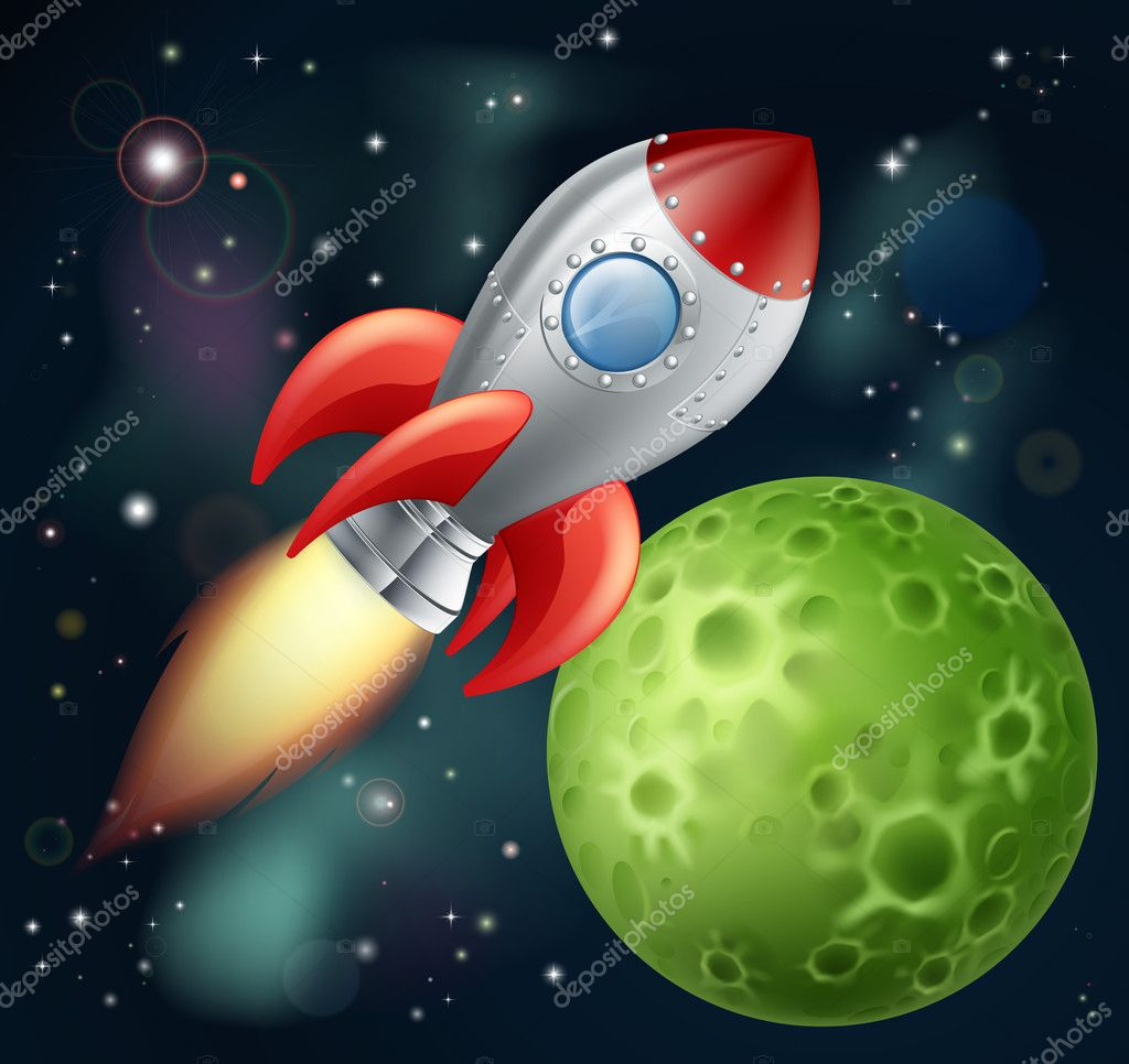 Cartoon rocket in space