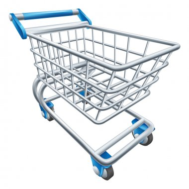 An illustration of a wire supermarket shopping cart trolley or basket stock vector