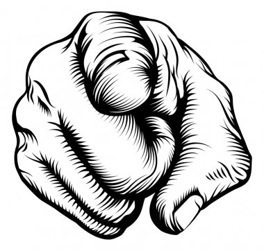 Retro black woodcut print style hand pointing finger at viewer, from front stock vector