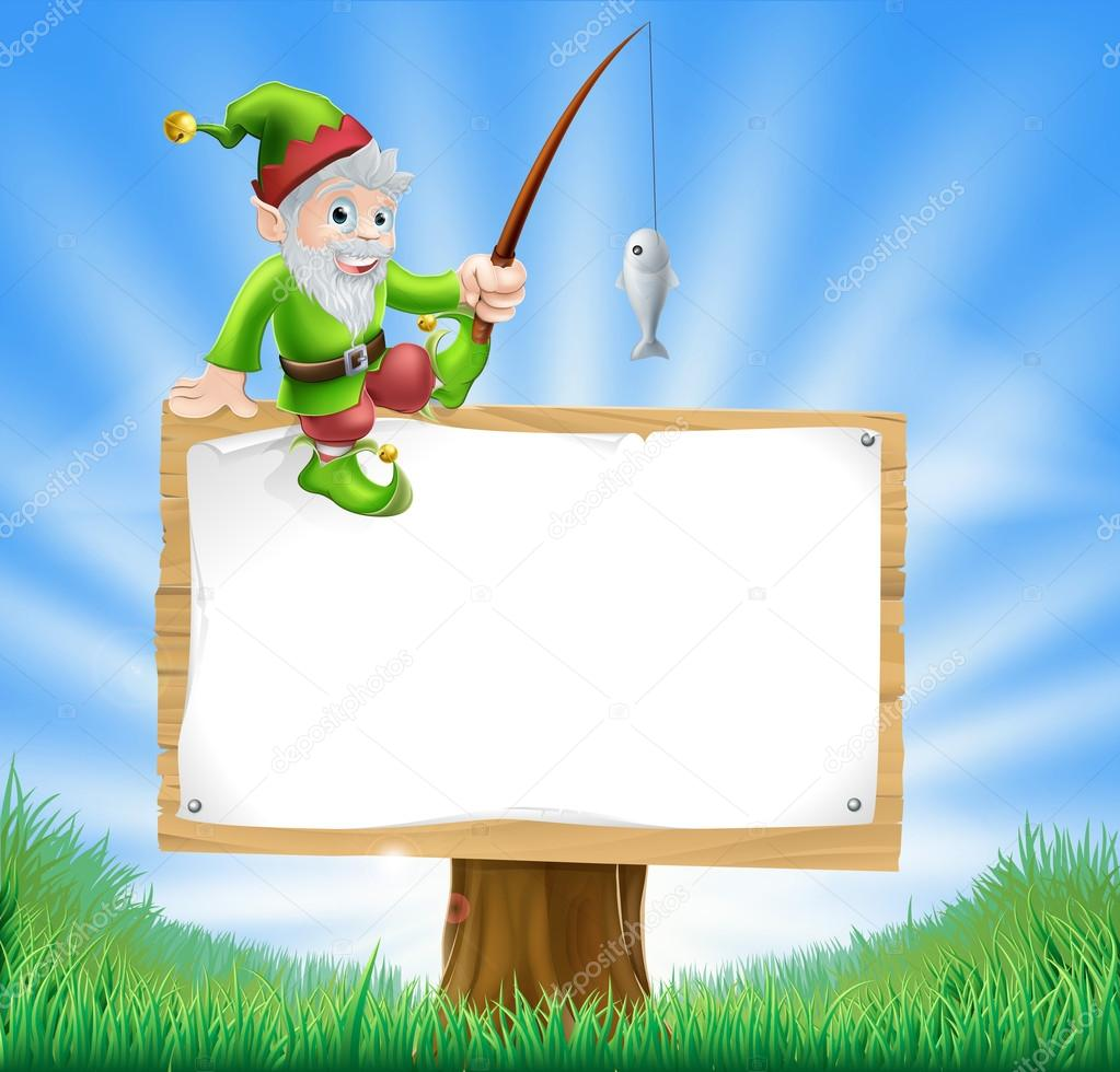 Garden gnome or elf sign
