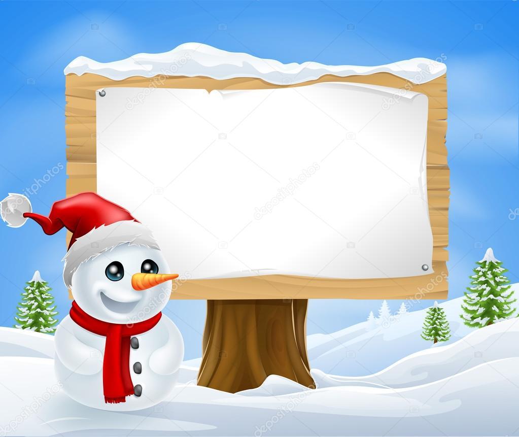 Süße Weihnachten Schneemann und Zeichen — Stockvektor © Krisdog ...