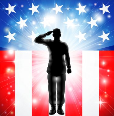 US flag military armed forces soldier silhouette saluting