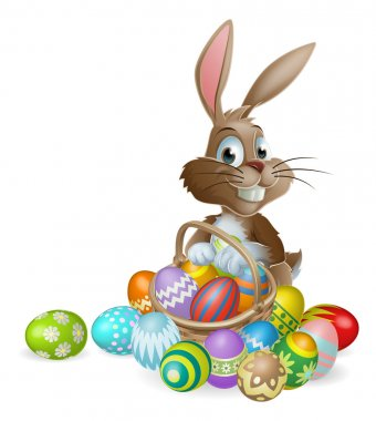 Easter bunny rabbit with Easter eggs basket