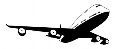 A black and white illustration of a stylised commercial jet plane stock vector