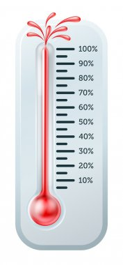 Illustration of a thermometer with the red alcohol bursting through the top. clip art vector