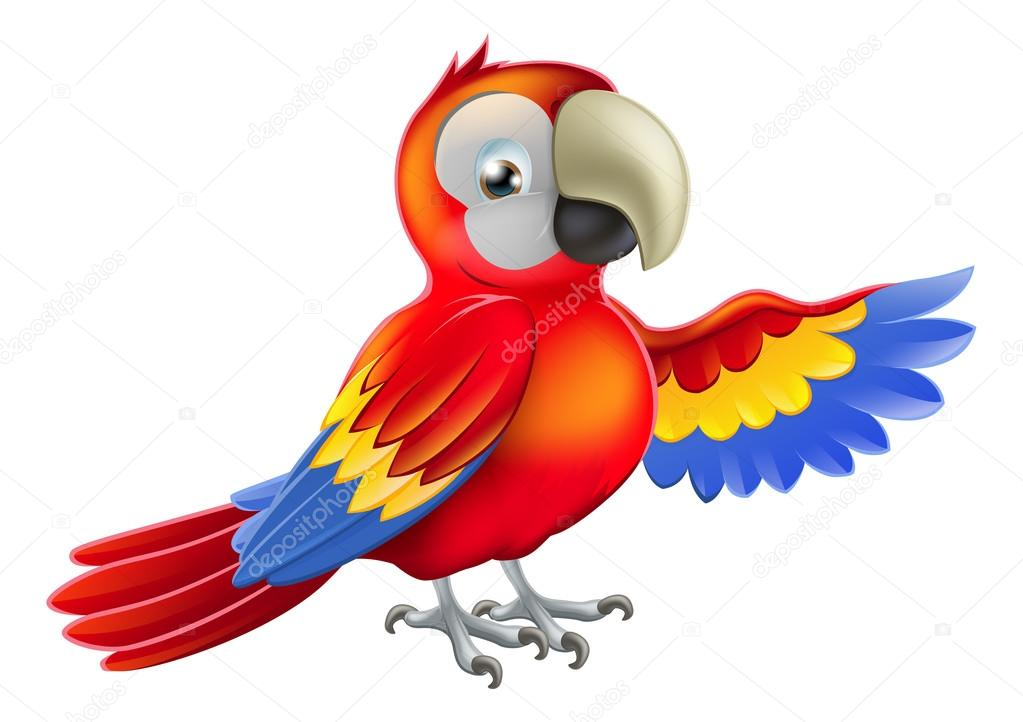Red pointing cartoon parrot