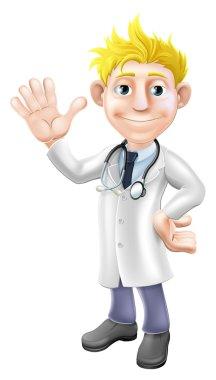 Cartoon doctor waving