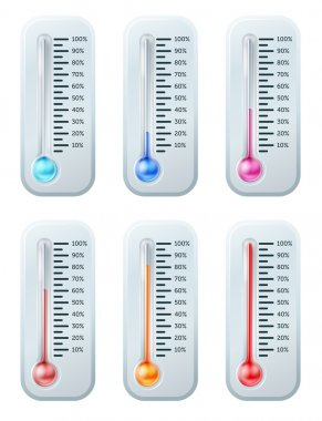 A series of thermometers with the colour of the liquid turning warmer as temperature increases or target or goal is reached. Starts off blue through to red. clip art vector