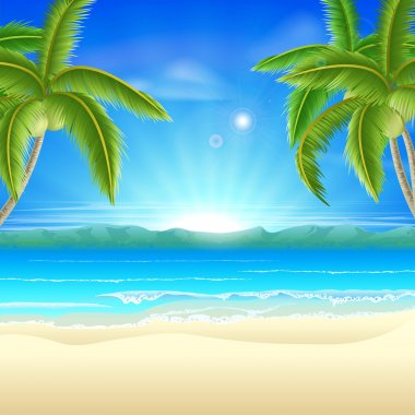 Summer holiday beach background of a beautiful summer sandy beach with coconut palm trees framing the image clip art vector