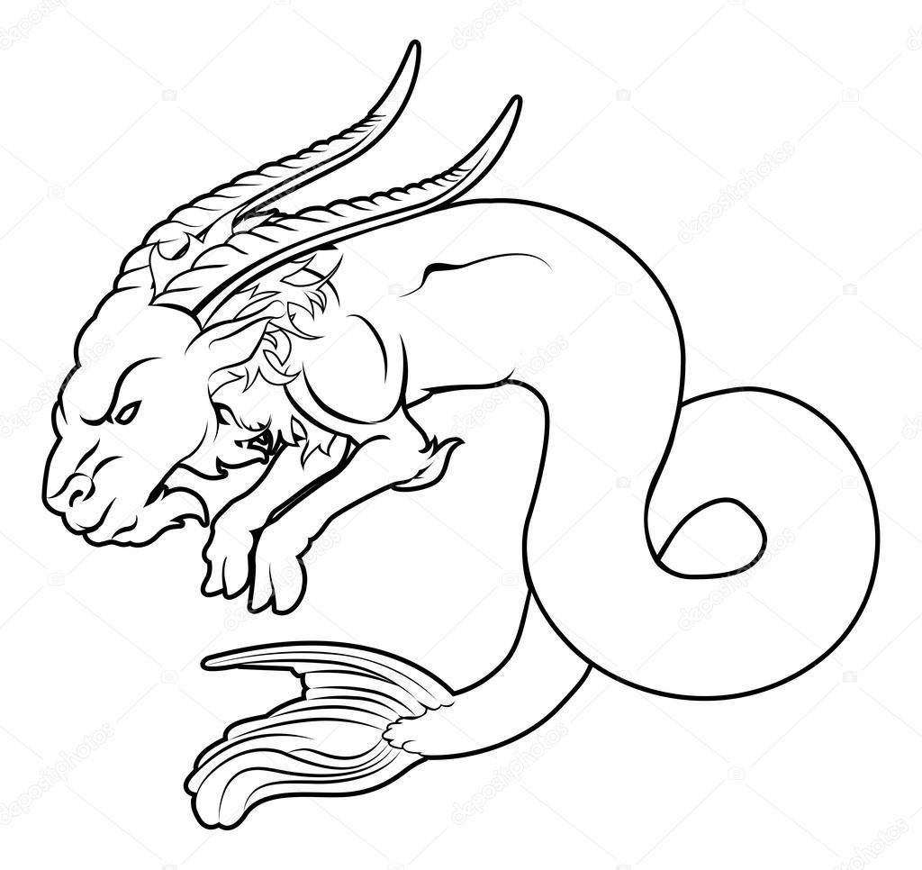 Stylised sea goat illustration