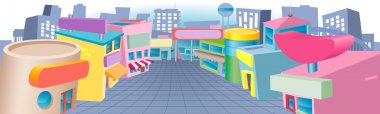Cartoon street of shops