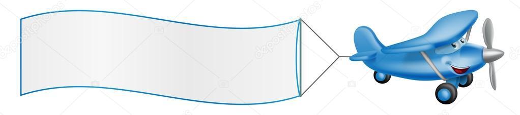Cartoon vliegtuig mascotte trekkende banner — Stockvector ...