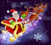 Vánoční santa claus létající sáně s dárky