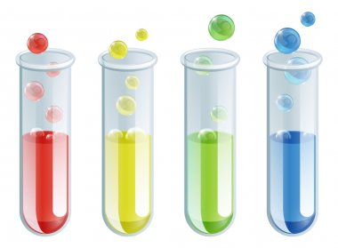 An illustration of four different coloured test tubes with bubbling liquid in them stock vector