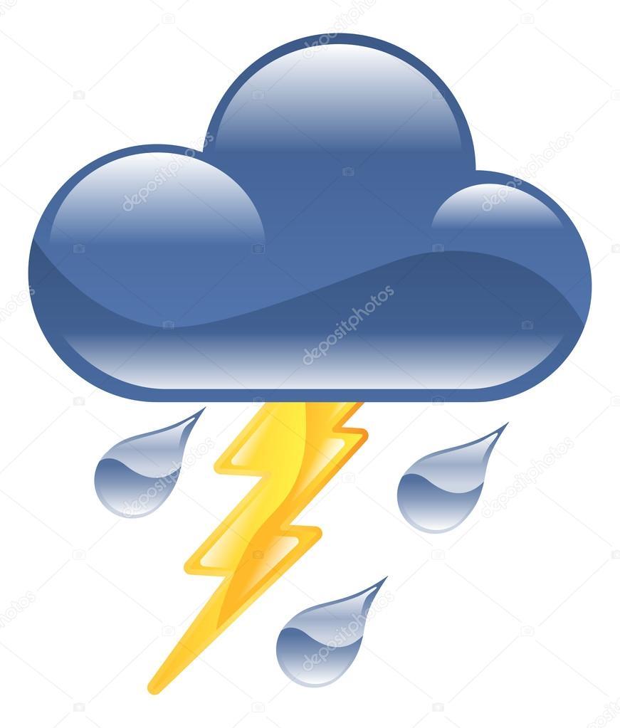 Weather icon clipart lightning thunder storm illustration