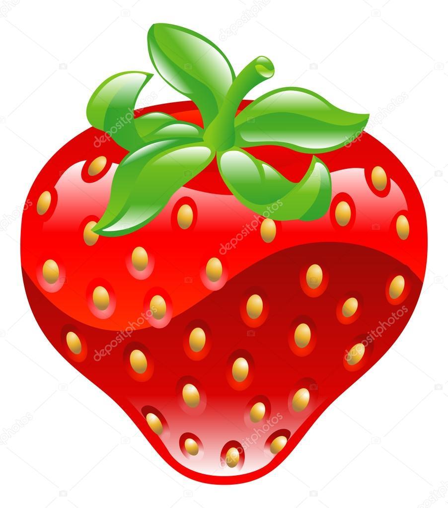 Illustration of shiny strawberry icon