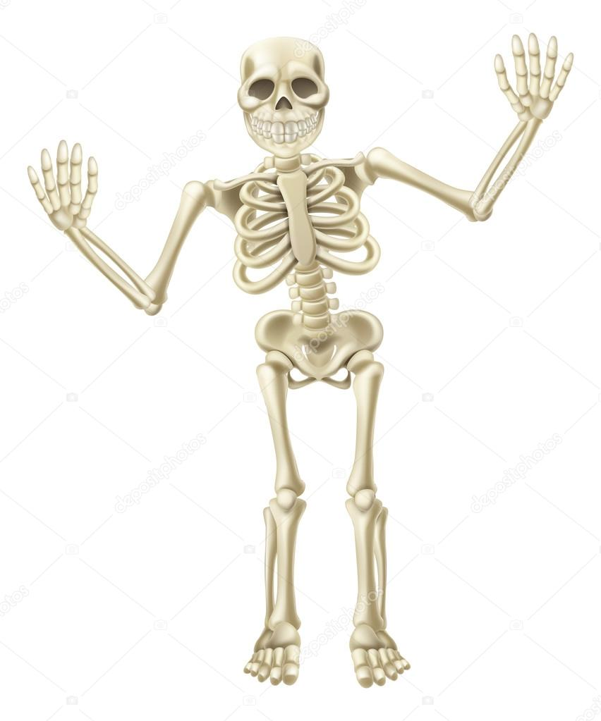 Cartone animato sventolando il carattere dello scheletro