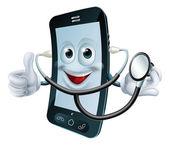 Photo Cartoon phone character holding a stethoscope