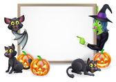 Fotografia strega e segno di halloween pipistrello vampiro